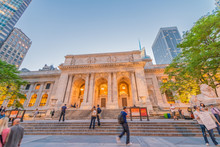 The Public Library And Fifth Avenue At Sunset, Manhattan - New Y