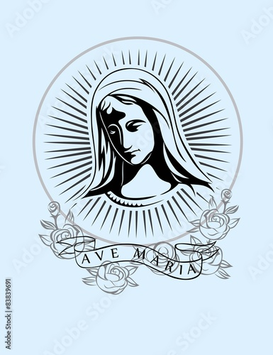 Tablou Canvas Ave Maria, art vector t-shirt design