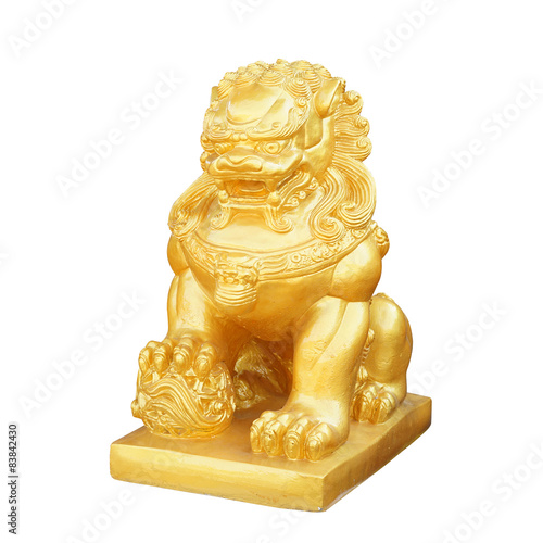 Fotografie, Tablou  Chinese Golden lion statue isolated