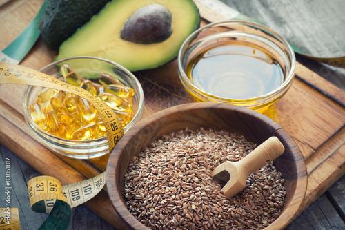 Sources of omega 3 fatty acids Canvas Print