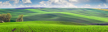 Wonderful Panoramic View Of Fields In Beautiful Colorful Valley
