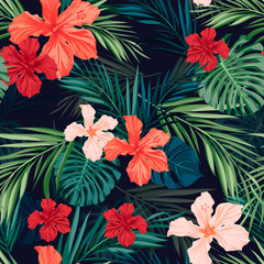 Fototapeta Inspiracje na lato Bright colorful tropical seamless background with leaves and