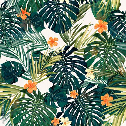 kolorowy-tropikalny-wzor-z-pomaranczowymi-kwiatami-i-liscmi
