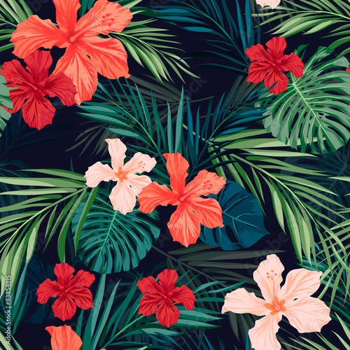 Bright colorful tropical seamless background with leaves and Tablou Canvas