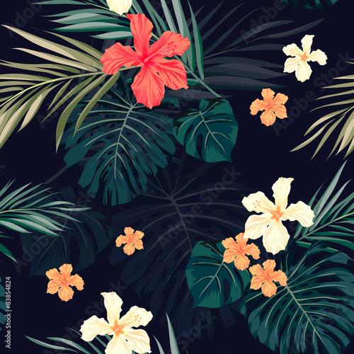 jaskrawy-kolorowy-tropikalny-bezszwowy-tlo-z-liscmi-i