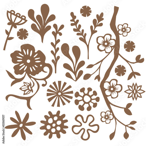 Poster Floral black and white Doodle Foliage Design Elements