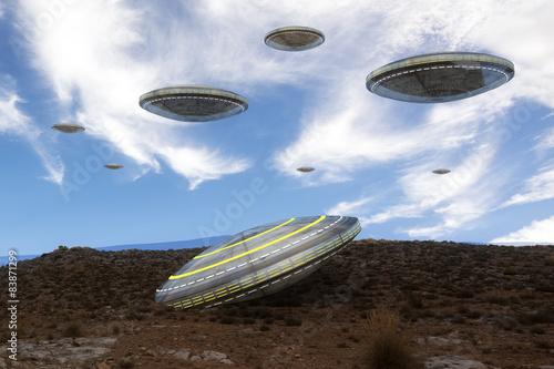 Fototapeta UFO i góra