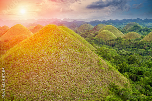 Photo Stands Hill Beautiful Chocolate Hills in Bohol, Philippines