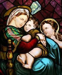 Naklejka Virgin Mary holding baby Jesus