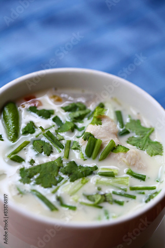 Chicken in Coconut milk Soup (Tom Kaa Kai) Authentic Thai food. Wallpaper Mural