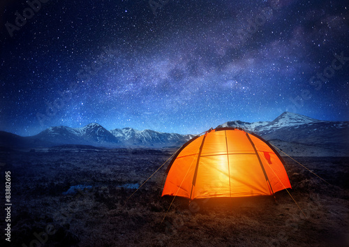 Spoed Foto op Canvas Kamperen Camping Under The Stars