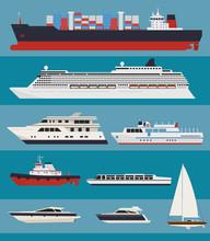 Vector Water Transport. Cargo Ships, Cruise Ships, Tug Boats