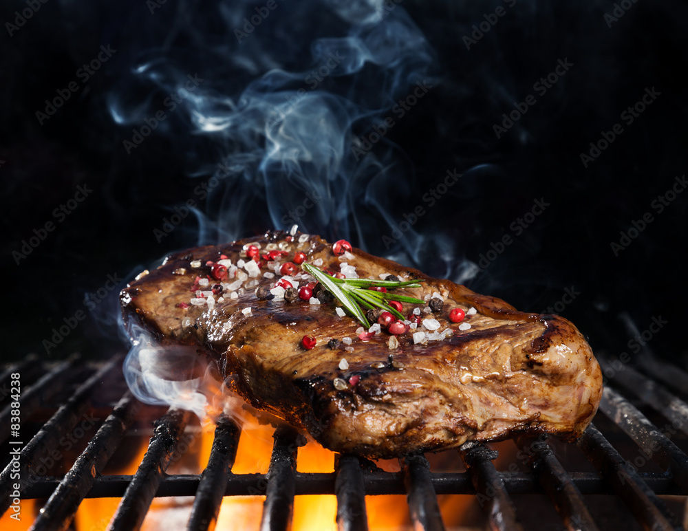 Photo  Beef steak on grill