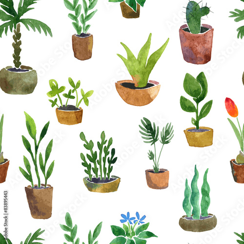 Cotton fabric seamless pattern with home plants