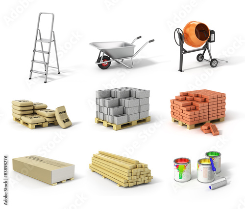 Photo  Set of construction material. Ladder, wheel, concrete mixer, cem