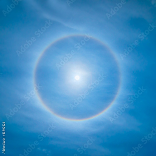 Sun rainbow circular halo phenomenon