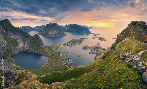 Poster Scandinavia Norway.View from Reinebringen at Lofoten Islands, Norway.