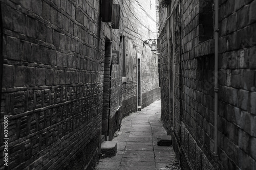 Canvas Prints Narrow alley Dark alley in old part of town