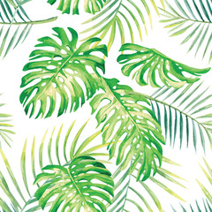 tropical plants watercolor pattern