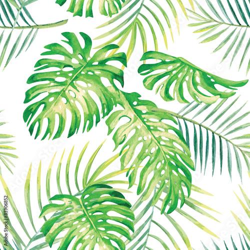 Ingelijste posters Tropische Bladeren tropical plants watercolor pattern