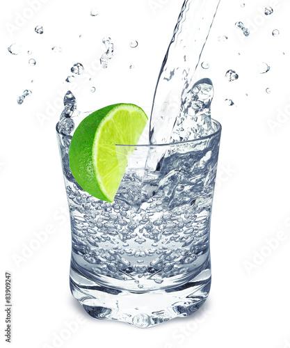 Poster Eclaboussures d eau lime water splash
