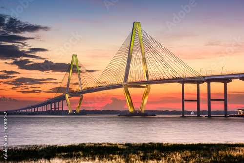 Fotobehang Bruggen Charleston, South Carolina, USA at Arthur Ravenel Jr. Bridge.