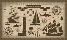 Set Of Nautical Design Elements,  Vector EPS10