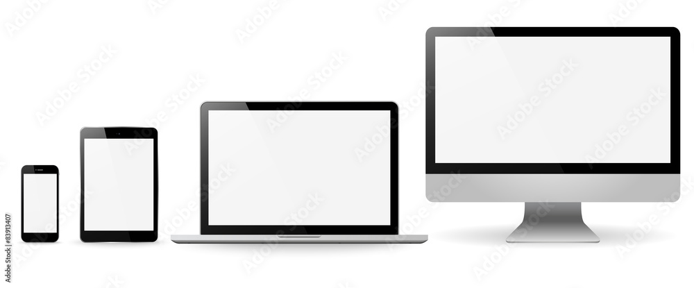 Photo  Set realistic Monitors laptop tablet and phone vector illustrati