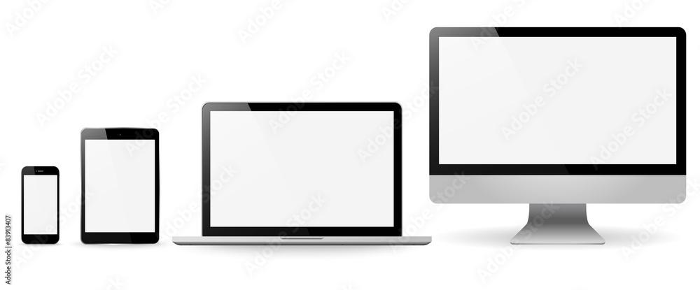 Fototapeta Set realistic Monitors laptop tablet and phone vector illustrati