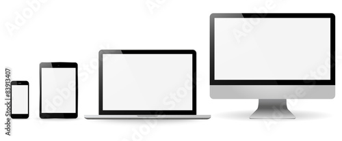 Fotografía  Set realistic Monitors laptop tablet and phone vector illustrati