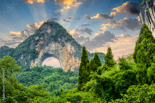 Foto op Canvas Guilin Moon Hill, Yangshuo, China.