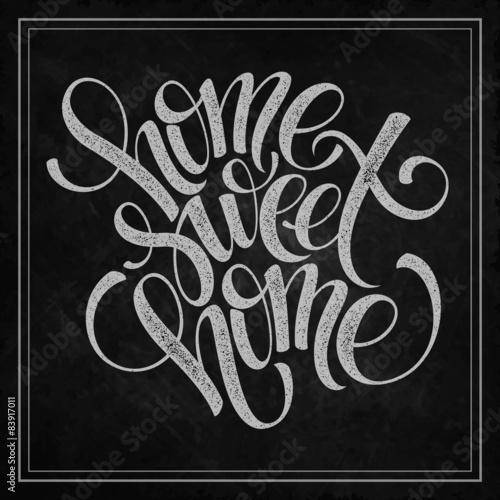 Obraz na plátně  home sweet home hand lettering, vector
