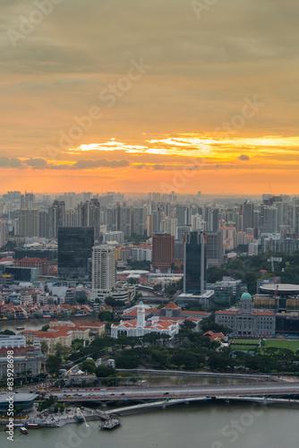 Fotobehang Midden Oosten Panorama of Singapore skyline downtown