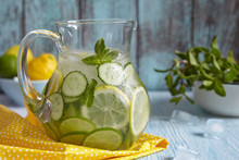 Fruit Water In Glass Pitcher