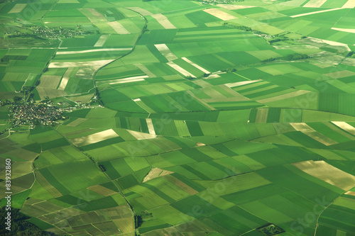 In de dag Luchtfoto Aerial view of fields in France
