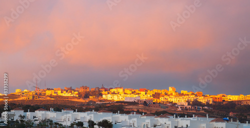 Foto op Plexiglas Marokko Bright sunset landscape, Tangier, Morocco