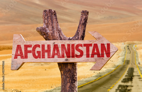 Poster Algérie Afghanistan wooden sign with desert background
