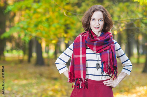 Fotografie, Obraz  Female Fashion Model Posing in Autumn Forest Outdoors.