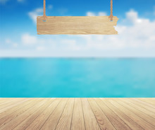 Vector Beautiful Sea View And Wood Planks Floor Background