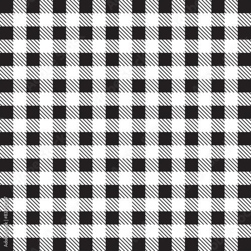 Fototapeta na wymiar Gingham tablecloth pattern background black and white