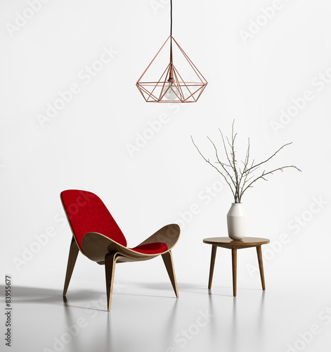 Modern red chair with a himmeli diamond lamp