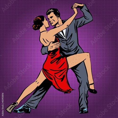 fototapeta na lodówkę mężczyzna i kobieta z pasją tańczy tango pop sztuki