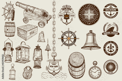Fotografia  Set of marine and nautical elements. Vector