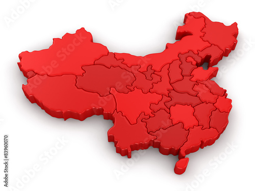 Map of China. Image with clipping path.