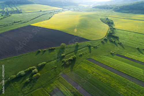 Montage in der Fensternische Luftaufnahme Aerial view on yellow fields