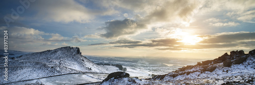 Stunning Winter panoramic landscape snow covered countryside wit #83971204