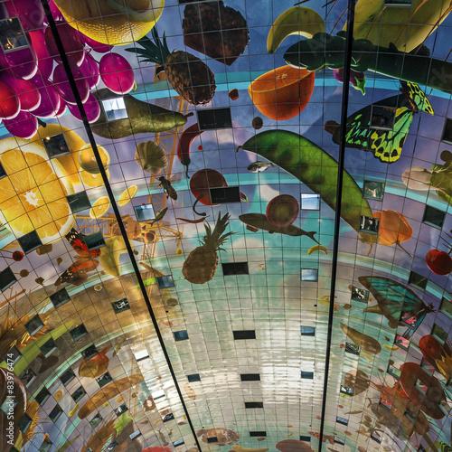 Staande foto Rotterdam Ceiling of the new Market Hall, Rotterdam