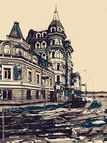 szkic-rysunek-miasta-kijow-nowoczesny-krajobraz-podol-ukraina