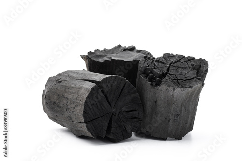 Photo  Charcoal isolated on white background