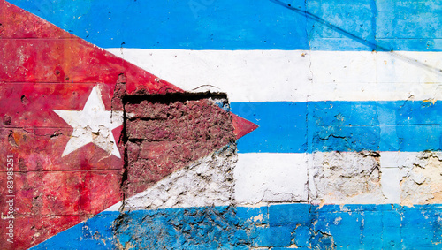 Poster Havana Cuban flag painted on a grunge old wall in Havana